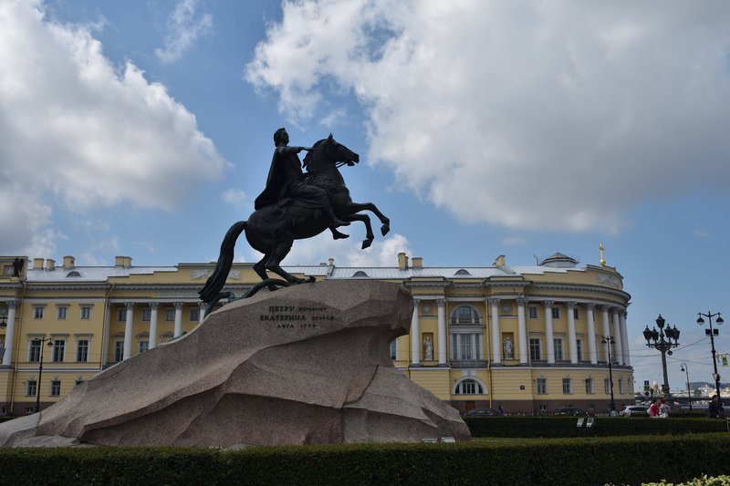 The Bronze Horseman is an equestrian statue of Peter the Great beside the Neva river