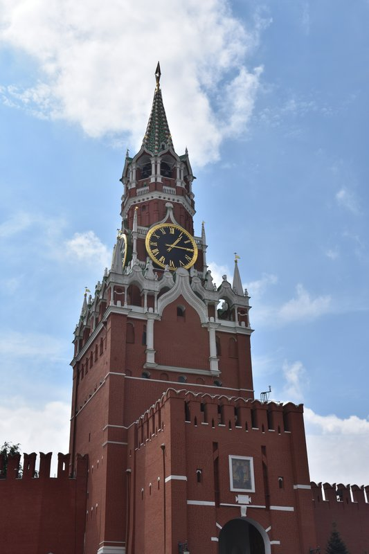 Spasskaya Tower at the Kremlin.  Famous for the large clock and a main focal point for Red Square and the Kremlin