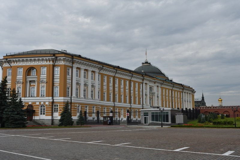 Building Russian President Putin works in within the Kremlin complex. <br /> The flag on top of the building is raised anytime he is in the building.  It is raised in this picture but hard to see as the wind is not blowing