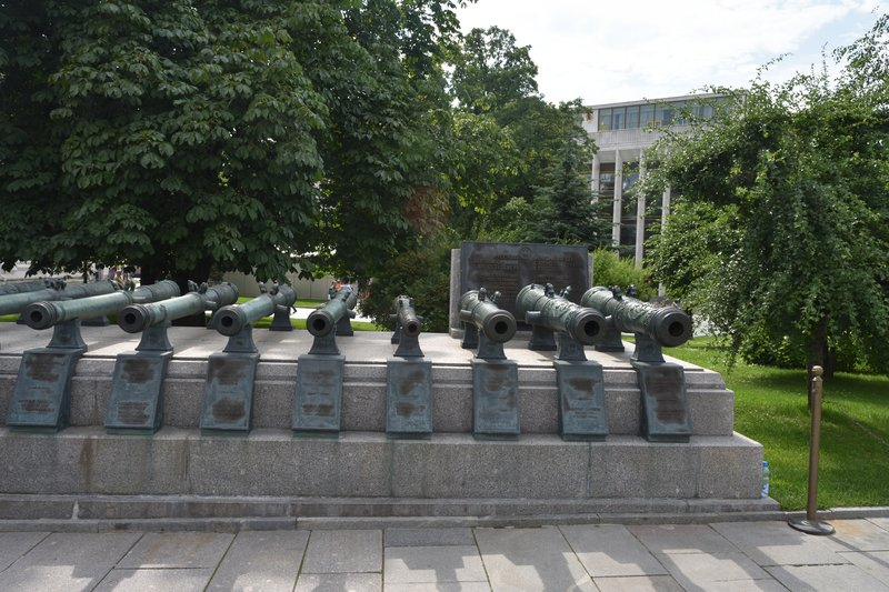 Different sizes of cannons that are mounted all over the Kremlin complex for protection