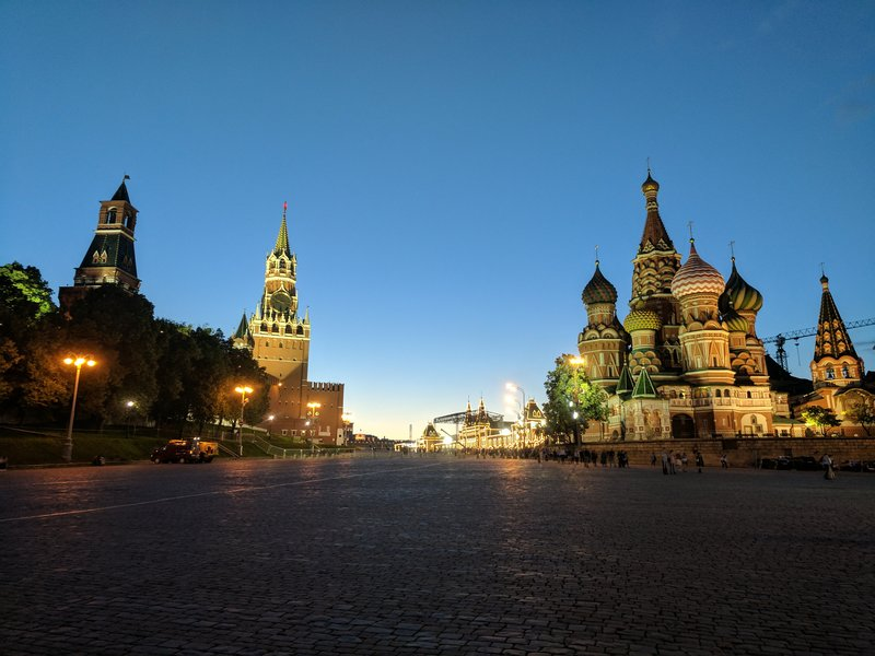 Red Square at night with Kremlin on the left and St. Basil's Cathedral on the right