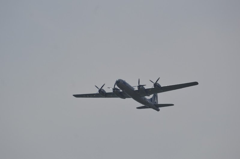 B29 Superfortress.  Both Atomic bombs dropped on Japan were from B29's stationed at Tinian Island in the Mariana Islands.  The sound of the B29 as it flew over was incredible.  This plane was certainly a crowd pleaser!