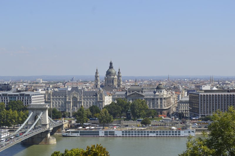 view from Buda to Pest with the Chain Bridge from a hill