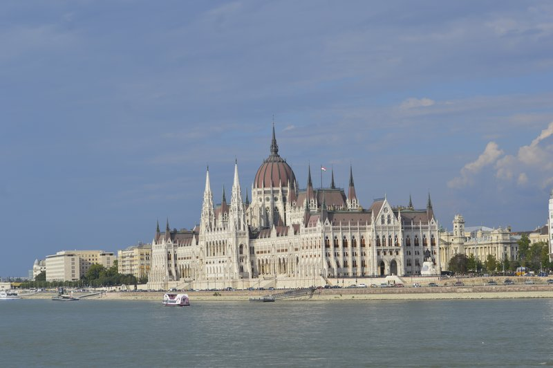 view of the Parliament Building in Pest while crossing the Chain bridge