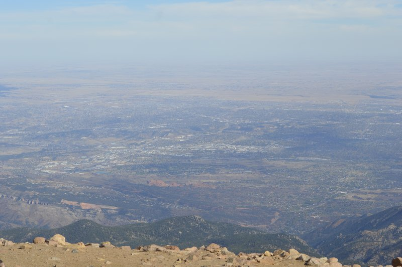 Looking down from top of Pikes Peak.  Hazy due to smoke from fires on neighboring mountain.