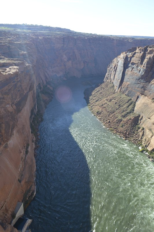 Looking down the Colorado River just past the Dam towards the North Rim