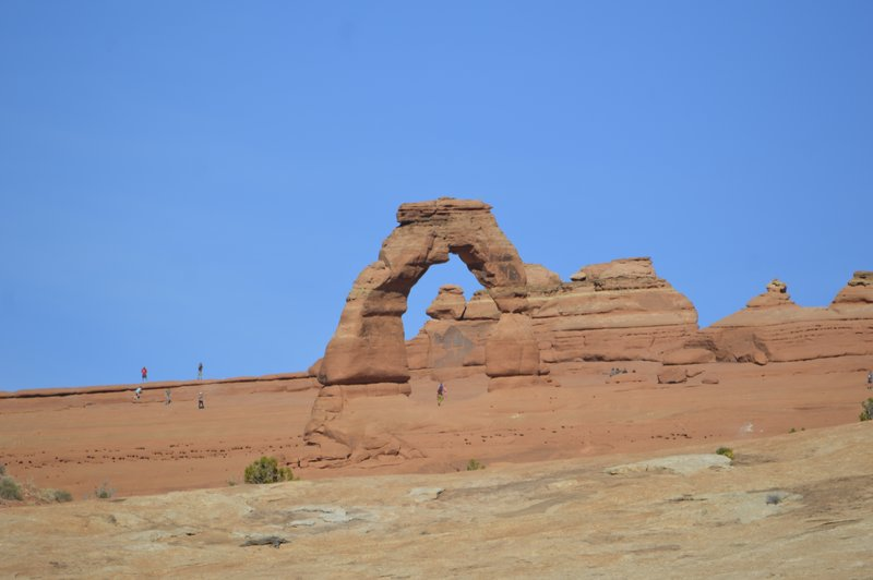 The most famous Arch in the park.  It is named Delicate Arch.  Picture taken from about 1 mile away.  To get to the arch you had to walk 3 miles.