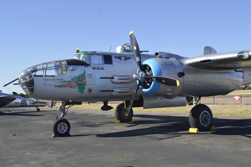 Maid in the Shade B17.  This is the plane that the museum is dedicated to.  It was completely refurbished and is in flying shape.  You may take flights on it if you are willing to pay the $500 for 20 mins in the air.