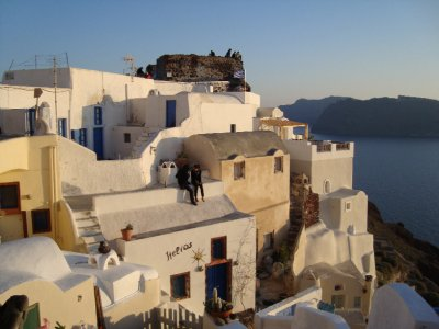 People watching the sunset in Oia