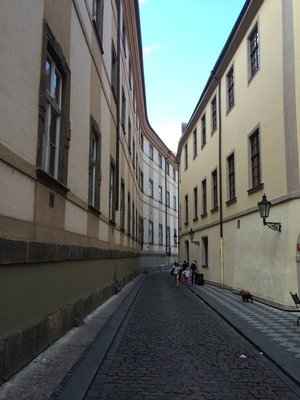 A narrow Prague street