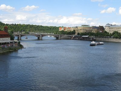 View of the Vltava River from Charles Bridge