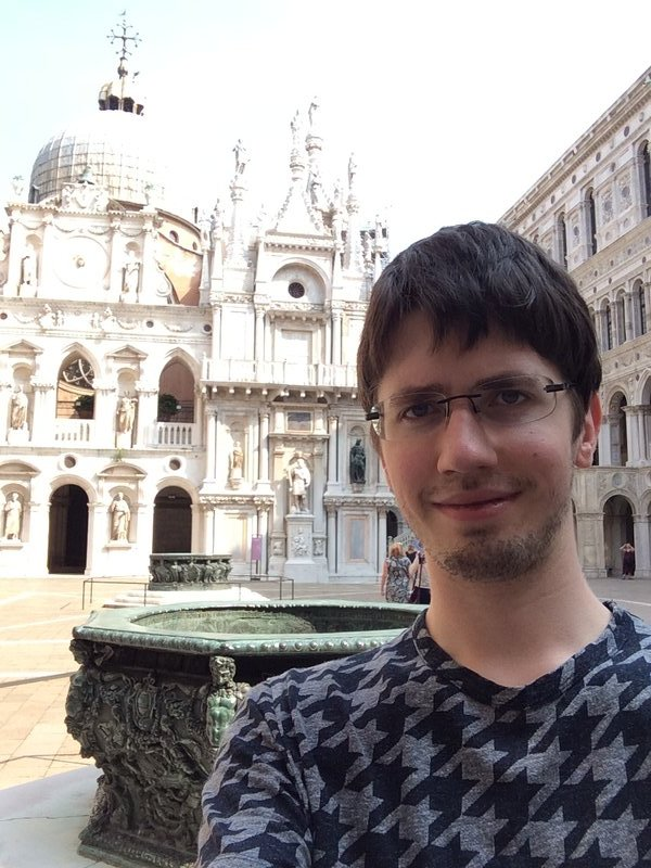 Emrys in the courtyard of the Doge's Palace