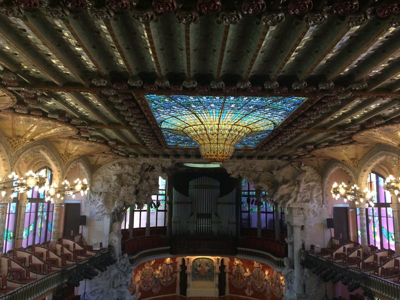 Palau de la Musica Catalana, on the balcony