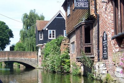 Canal tour showing historic Canterbury