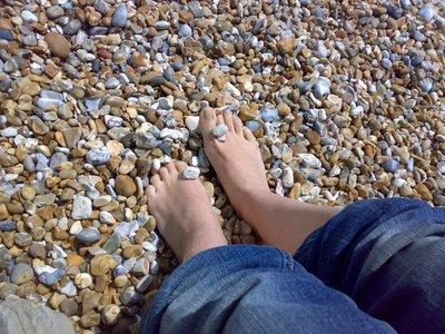 Pebbles between my toes