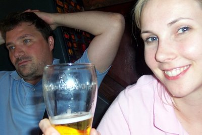 Trent and Kat enjoying a pint