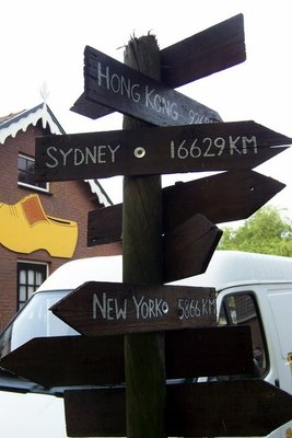 Signpost with distances