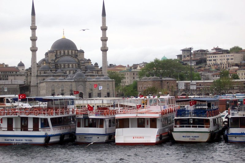 Mosque and harbour on the Bosphorous strait, Turkey