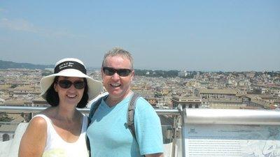 Mum and Dad on top of the Piazza de Venezia