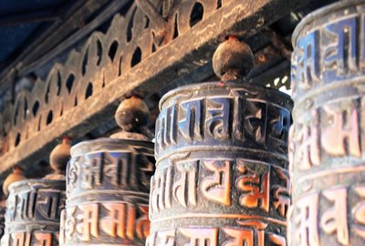 Prayer wheels, monkey temple