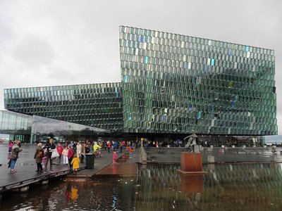 the Opera house - Harpa - the panels change colour