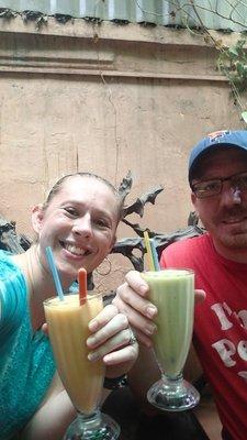 Enjoying a fabulous mango and avocado shake!!!!