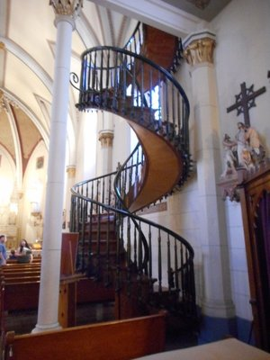 Loretto chapel stairs that is not held together by nails, they defy engineering principles. The builder is unknown