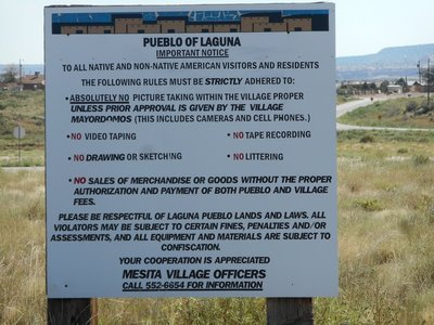 Pueblo signage - that's why we decided not to visit - too many restrictions