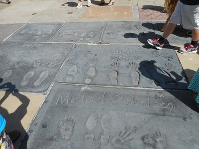 Outside of the Chinese theater, Hollywood Blvd