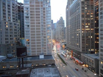 View from our room at the Hard Rock Hotel looking down Michigan Avenue