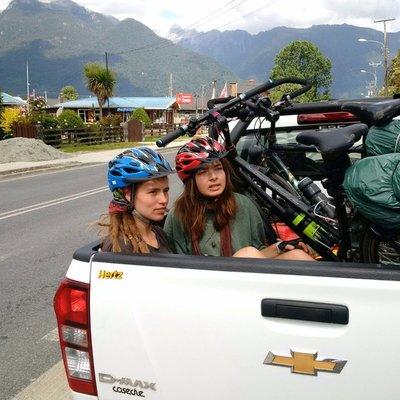Two Dutch girls with bikes