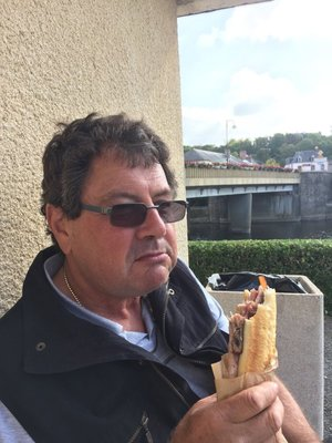 Graham enjoying Jambon and Frites in Pont Herbert