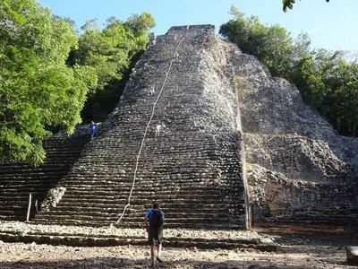 Climbing Ixmoja pyramid 24 metres high, Coba