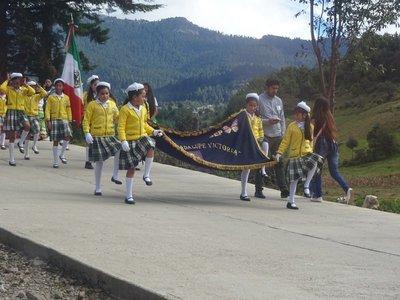 School Children Procession on the way to El Rosario from Ocampo