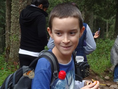 Thomas with a Monarch Butterfly