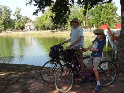 Cycling from wat to wat, Ayutthaya