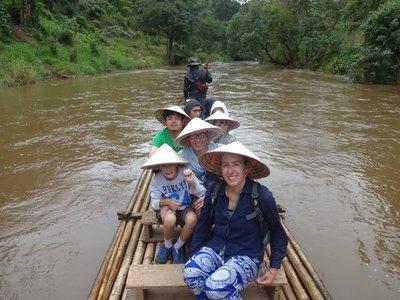 Bamboo rafting in the rain