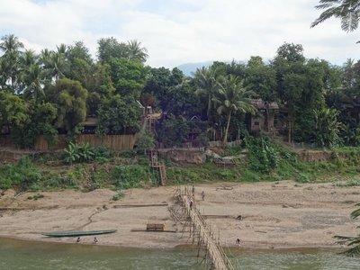 Temporary dry season bamboo bridge over the River Ou