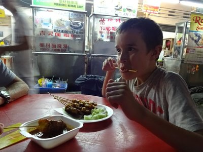 Eating satay in Taiping Food Night Market with the locals
