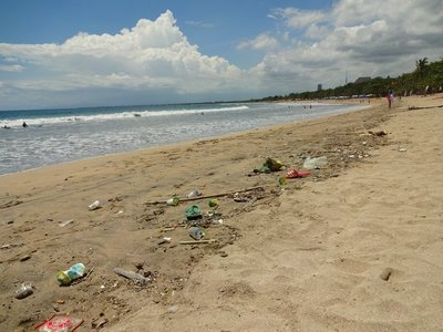 Yet more rubbish and it's floating in the sea, Kuta Beach