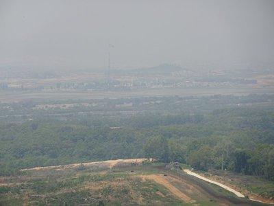 North Korean flag waving in the distance, Dorasan Observatory, DMZ