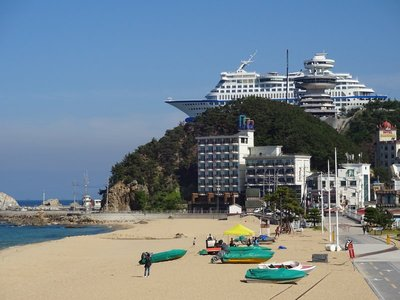 Sun Cruise Hotel (ship hanging precariously from the top of a cliff)