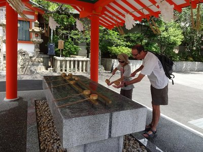 Washing hands at Ikuta Shrine, Kobe