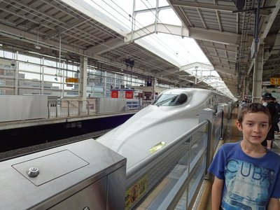 Ready to board Nozumi (fastest bullet train in Japan), Kyoto to Tokyo