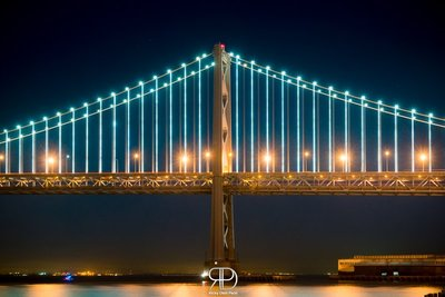 Night Colors of the Bay Bridge in San Francisco