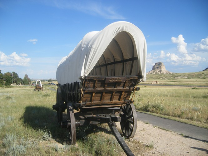 Wagons at Scotts Bluff National Monument, Nebraska