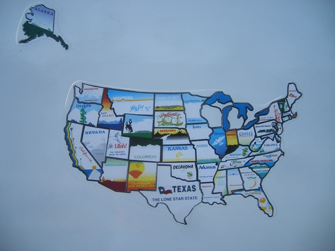 Map on our 5ver at the end of our trip: 47 states filled in
