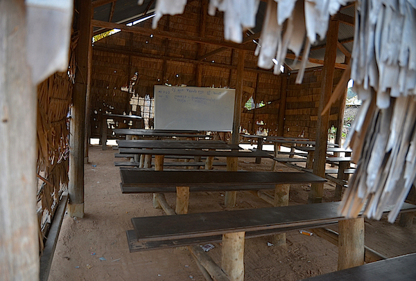 What can be seen on the back road: a classroom around Angkor Wat where some of the original people still live.