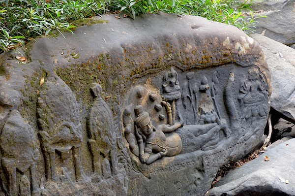 Carvings along the creek at Kbal Spean from the 11th and 12th centuries