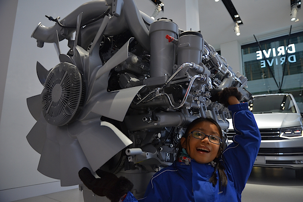 An enormous car engine.